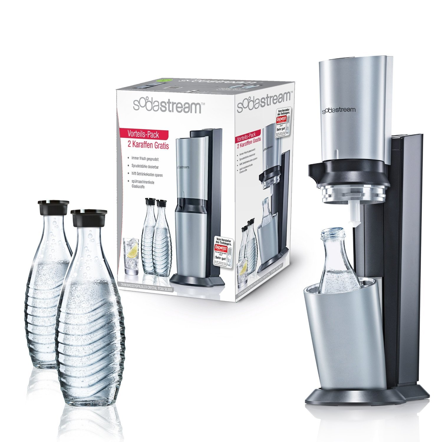 sodastream crystal set 3 karaffen 1 zylinder titan silber preisvergleich check24. Black Bedroom Furniture Sets. Home Design Ideas